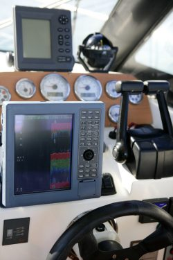 Boat control bridge, plotter, fishfinder, radar, power, compass, interior white